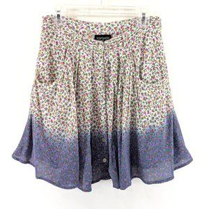 Topshop Ombre Floral Button Front Ruffle Skirt